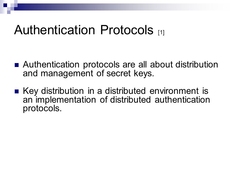 Authentication Protocols [1]